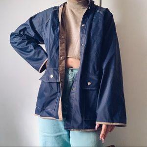 van heusan navy and tan rain jacket coat large